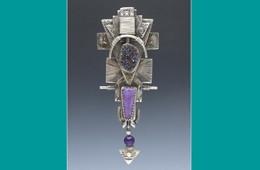 Pin | Silver, Titanium Druzy, Sugilite, Amethyst