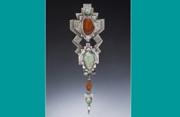 Pin/Pendant | Silver, Fox Turquoise, Carnelian