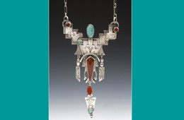 Pendant | Silver with Turquoise & Carnelian