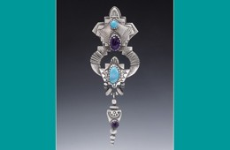 Pin/Pendant | Silver, Morenci Turquoise, Amethyst